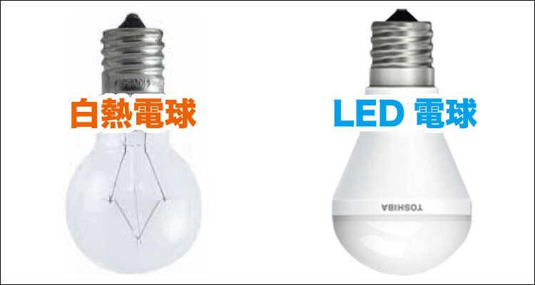 白熱電球とLED電球を比べてみましたの電球の画像